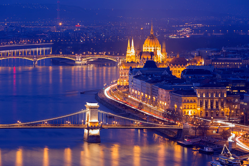 View of the Hungarian Parliament Building and the Chain Bridge in Budapest.