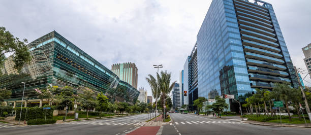Panoramic view of Builidings at Faria Lima Avenue in Sao Paulo financial district - Sao Paulo, Brazil stock photo