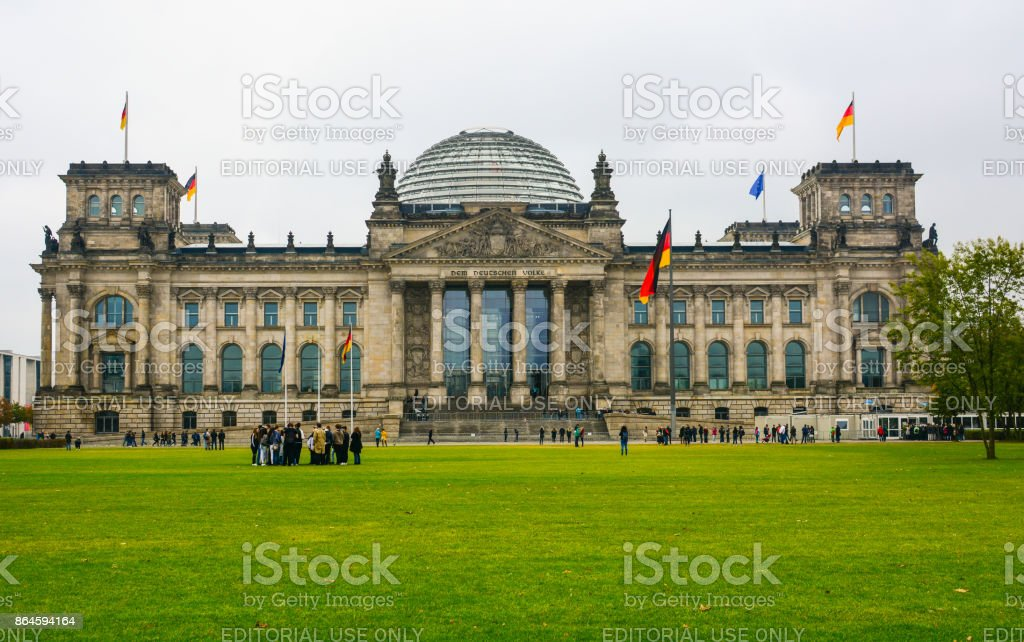 Panoramic view of Bundestag building in Berlin stock photo