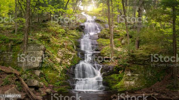Photo of Panoramic view of Buttermilk Falls showing abundant spring runoff in Stokes State Forest, NJ