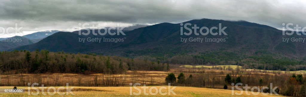 Panoramic View of Cades Cove stock photo