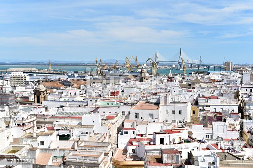 Panoramic view from the Bell Tower of Cadiz Cathedral, Cadiz, Spain