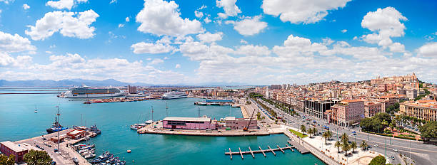 Panoramic view of Cagliari city in a beautiful sunny day stock photo