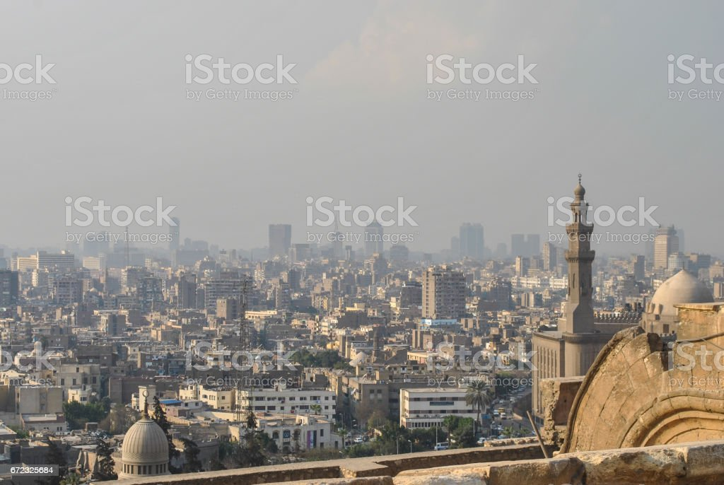 Panoramic view of Cairo from the citadel, Egypt stock photo