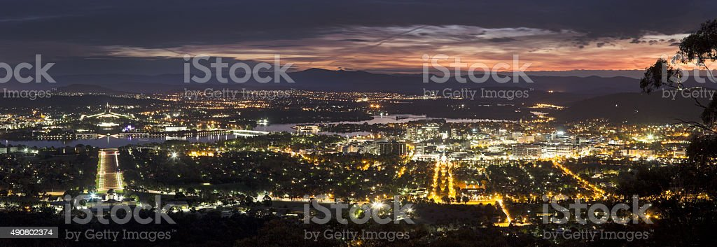 Panoramic view of Canberra at sunset stock photo