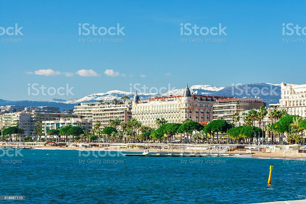 Panoramic view of Cannes, France. stock photo