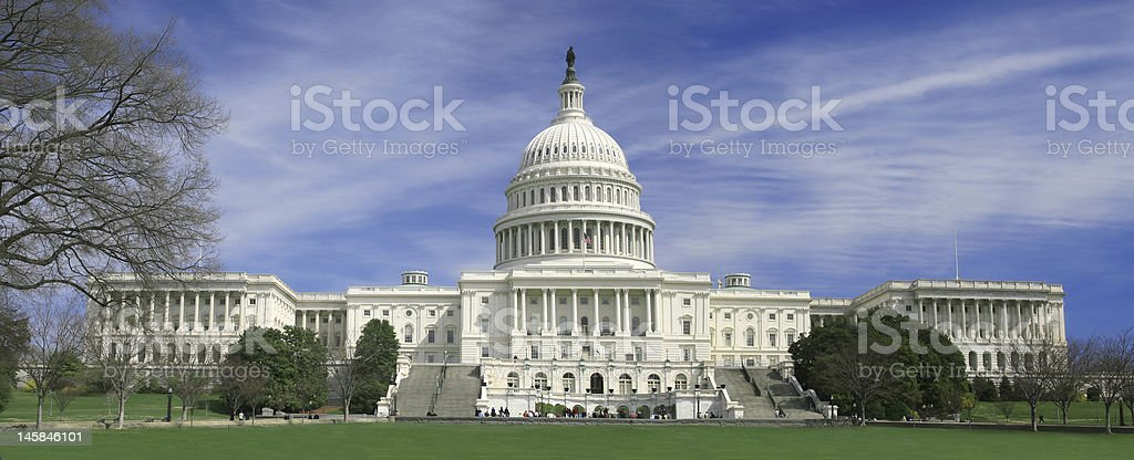 Panoramic view of capitol buildling in washington dc stock photo