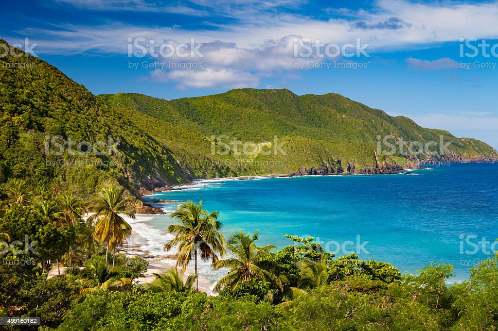panoramic view of Carambola Beach, St.Croix, US Virgin Islands stock photo