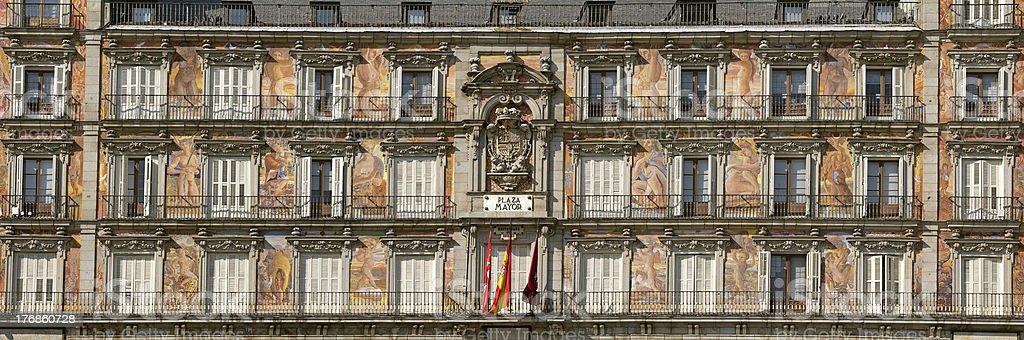Panoramic view of Casa de la Panaderia facade Madrid stock photo