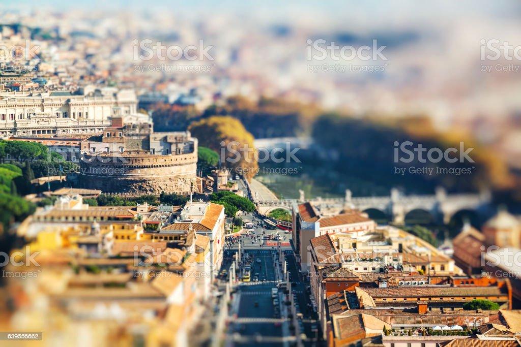 Panoramic view of Castle Sant'Angelo, via della conciliazione stock photo
