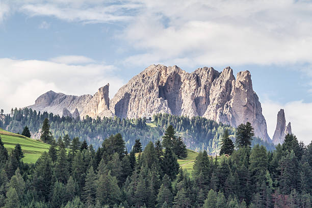 panoramic view of catinaccio mountains - dolomites italy - marmolata stock-fotos und bilder