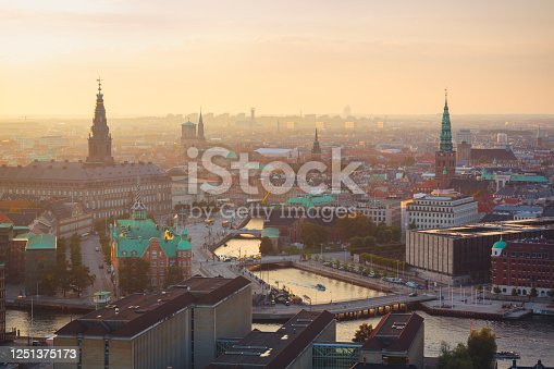 Center of Copenhagen with old stock market, parliament, cathedral and city hall.