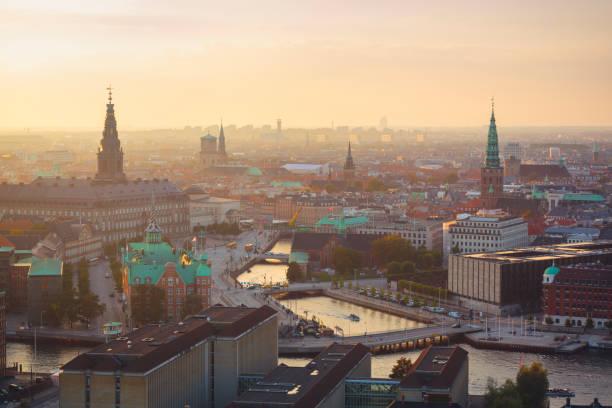 Panoramic view of central Copenhagen. stock photo