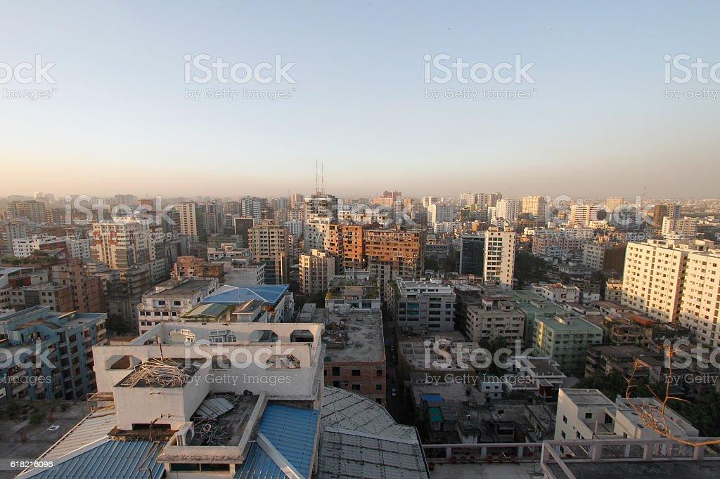 Panoramic view of central Dhaka, Bangladesh stock photo