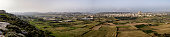 Panoramic View of Central Gozo, Victoria (Rabat), Cittadella, Rotunda of Xewkija, viewed from Sannat, Gozo, Malta