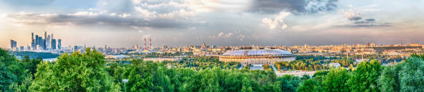Panoramic view of central Moscow from Sparrow Hills. Russia - foto stock