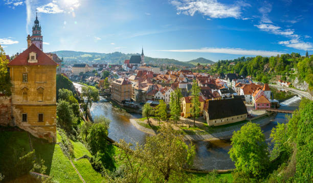 Panoramic view of Cesky Krumlov, Czech Republic stock photo