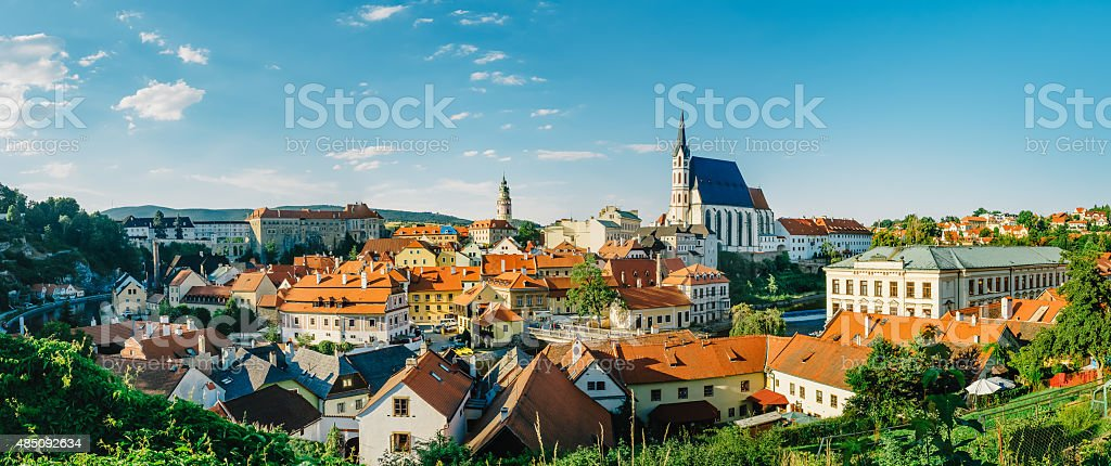 panoramic view of Cesky Krumlov, located in southern Czech Republic stock photo