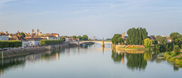 Panoramic View of Chalon-sur-Saone, France stock photo