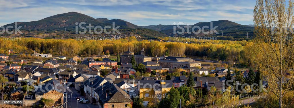 Panoramic view of charming Spanish village with fall foliage stock photo
