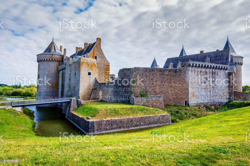 Panoramic view of Chateau de Suscinio, medieval castle, a former fortress & hunting lodge. Gulf of Morbihan, Brittany (Bretagne), France. stock photo