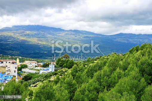 Panoramic view of Chefchaouen, one of the most touristic towns in Morocco, on a cloudy day