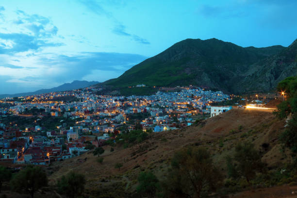 Panoramic view of Chefchaouen stock photo