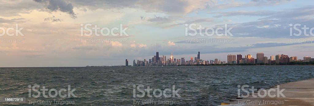 Panoramic View of Chicago at Sunset stock photo