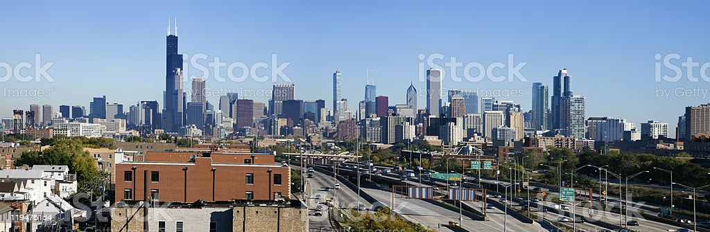 Panoramic view of Chicago from the south stock photo
