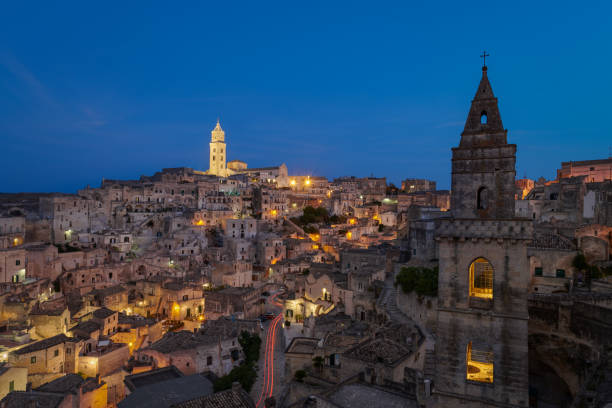 Panoramic view of Chiesa San Pietro Barisano - Matera stock photo