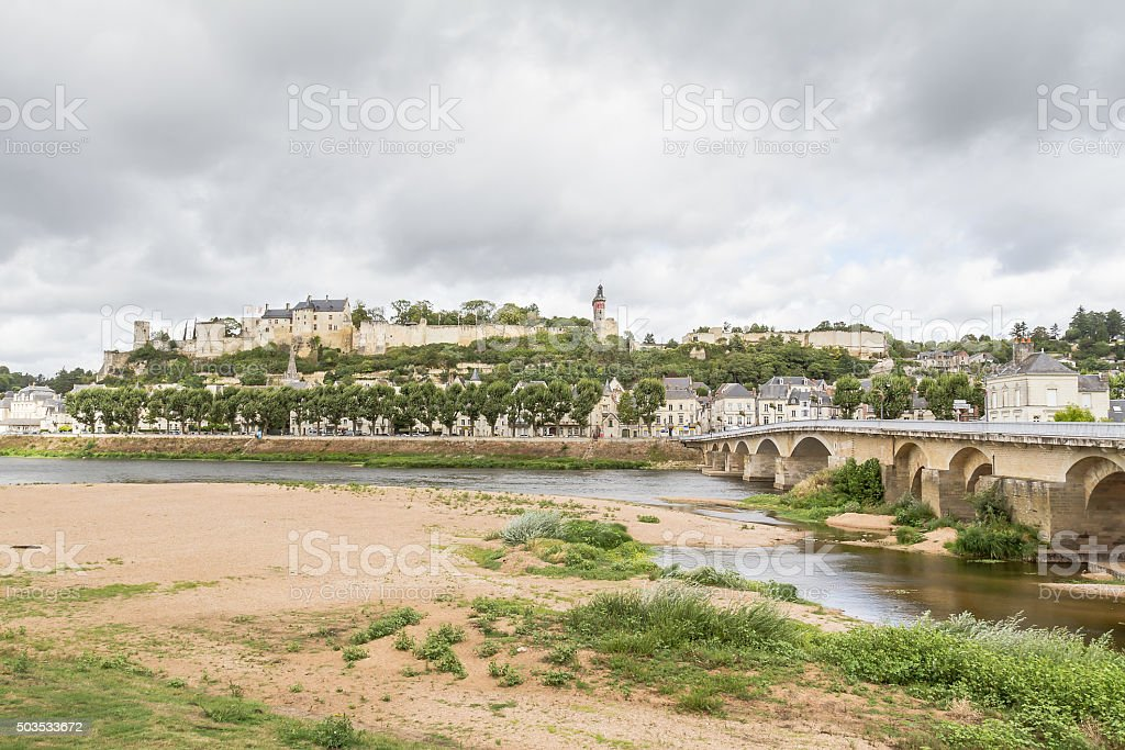 Panoramic view of Chinon - France stock photo