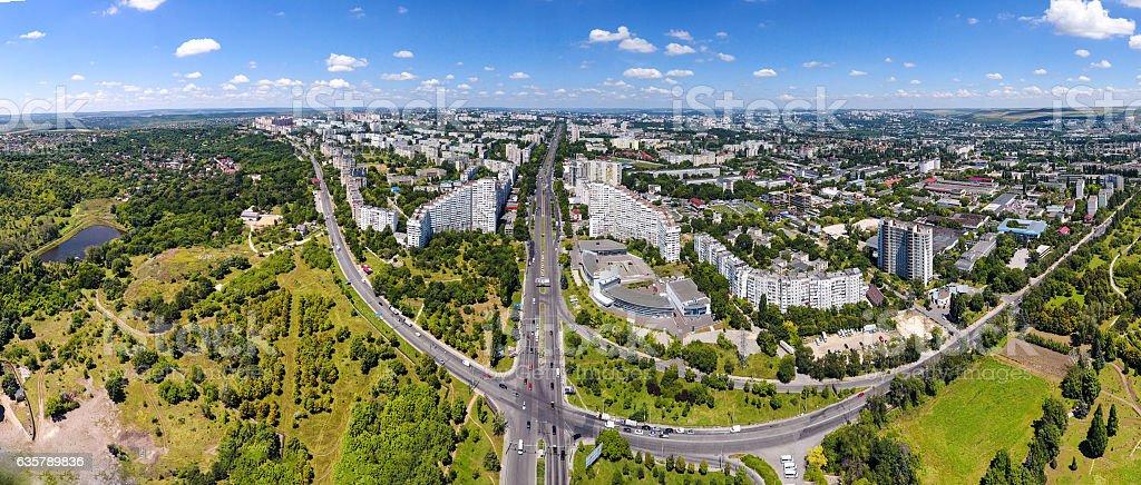 Panoramic view of Chisinau at the City Gates. Capital city stock photo