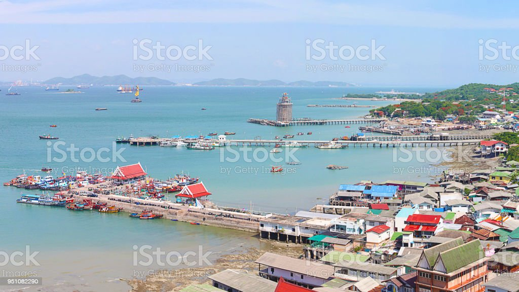 Panoramic view of Chumphon estuary Fishing Village with cloudy sky ,Thailand. Fishing is the main occupation for the villagers,industrial landscape stock photo