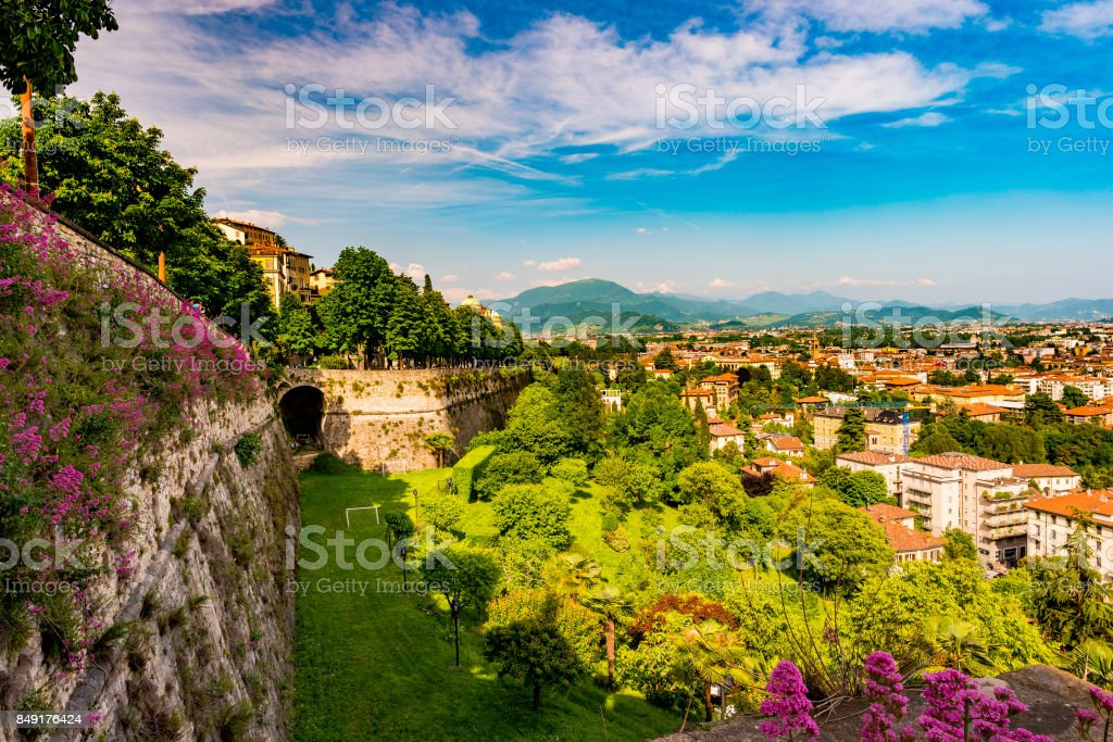 Panoramic view of Citta Alta, old town. Bergamo stock photo