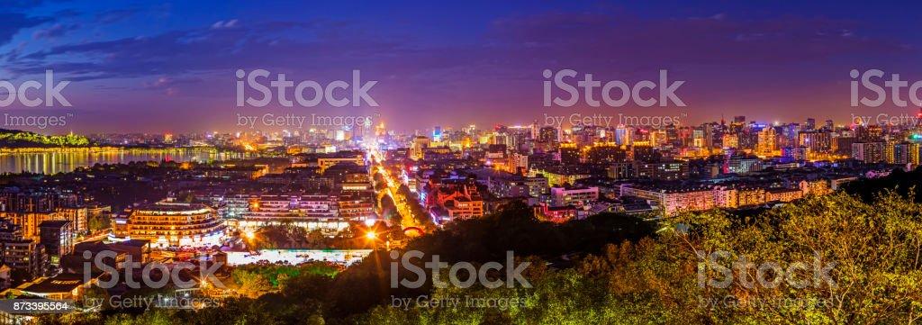 Panoramic view of city building scenery stock photo