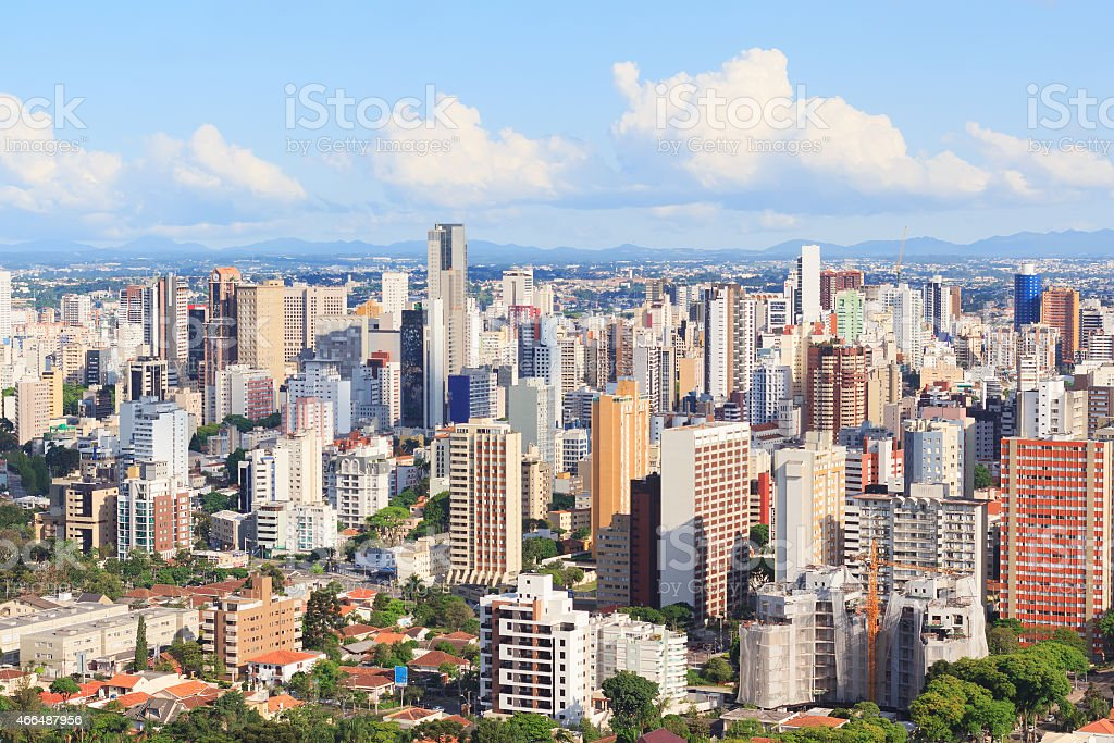 Panoramic view of city center, buildings, hotels, Curitiba, Para stock photo