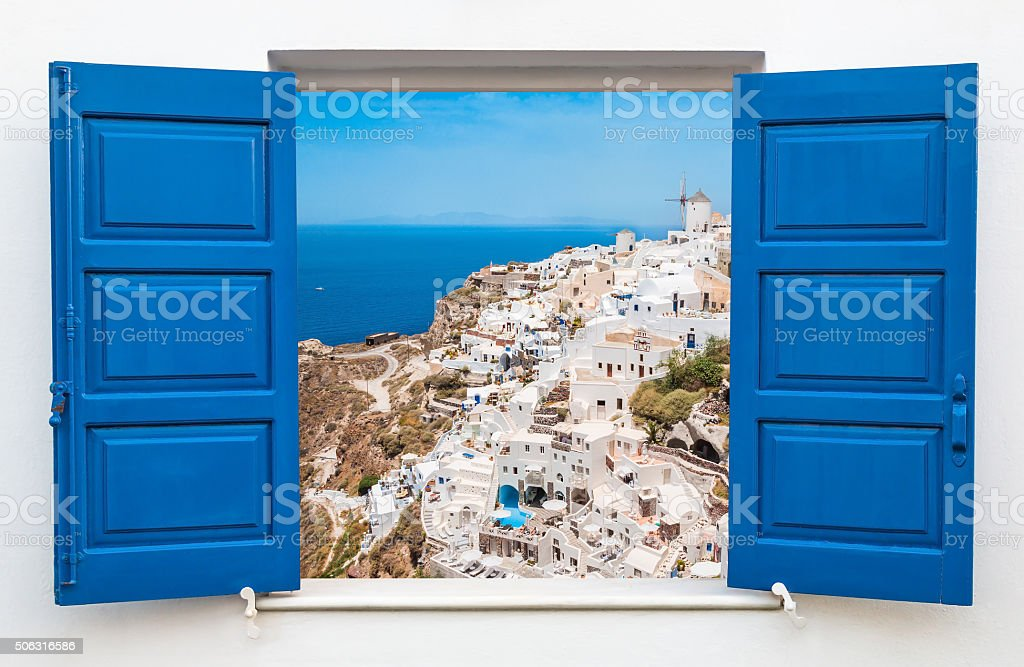 Panoramic view of city in Oia at Santorini, Greece stock photo