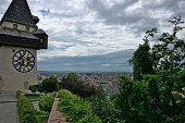 View from the hill in the center of the city Graz wih the iconic building \