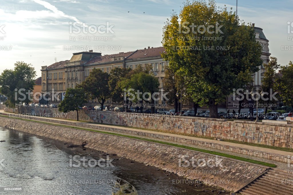 Panoramic view of City of Nis and Bridge over Nisava River, Serbia stock photo