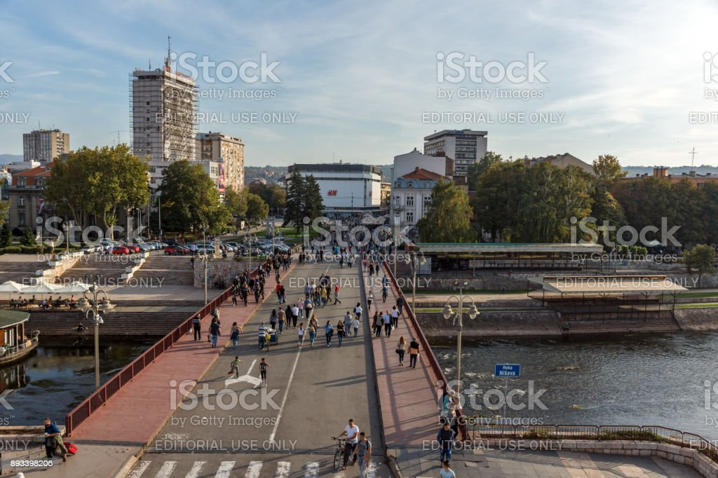 Panoramic view of City of Nis from Fortress, Serbia stock photo