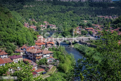 Panoramic view of city of Veliko Tarnovo, Bulgaria, View from Tsarevets fortress