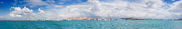 Panoramic view of cityscape and harbor stock photo