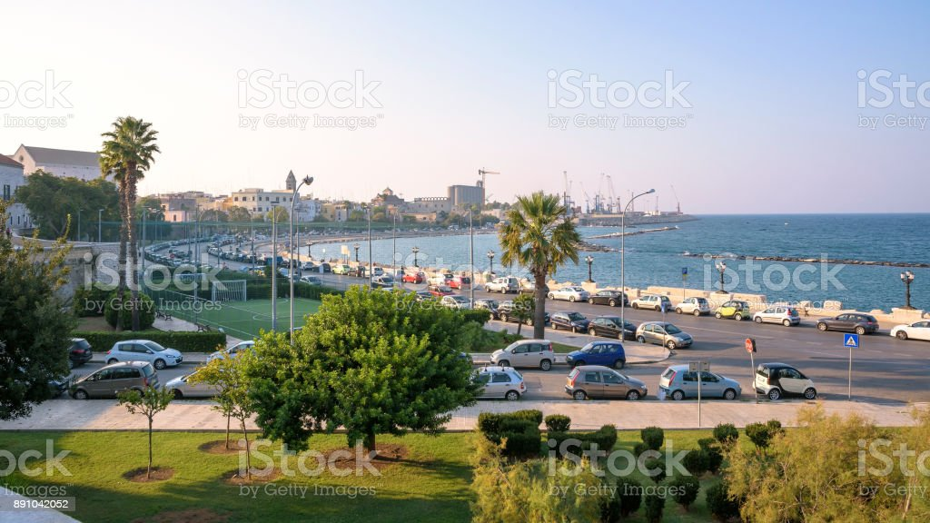 Panoramic view of cityscape coast in Bari stock photo