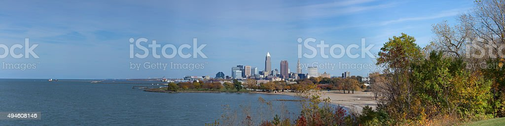 Panoramic View of Cleveland Ohio stock photo