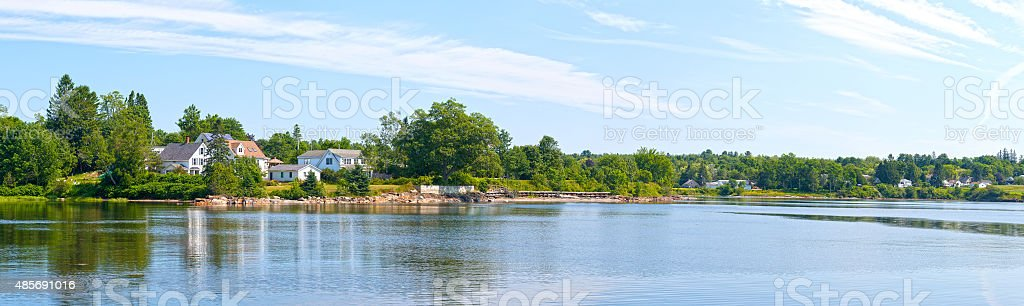 Panoramic view of coastal Searsport, Maine stock photo