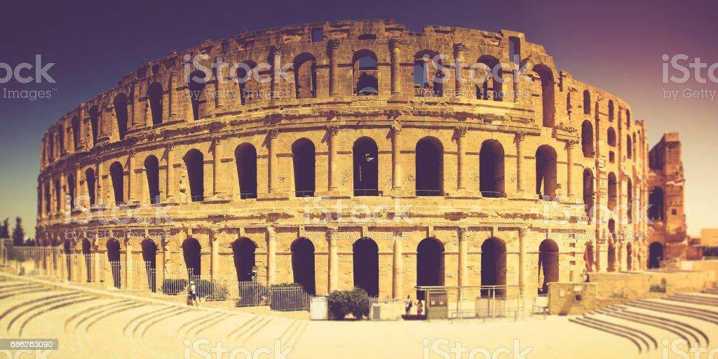 Panoramic view of Coliseum in El Djem.Tunisia in Africa. stock photo