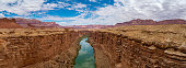 panoramic view of Colorado River, Marble Canyon Arizona on a sunny day during summer time