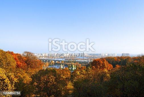 istock Panoramic view of colorful autumn Kiev, Ukraine, Europe. 1055884734