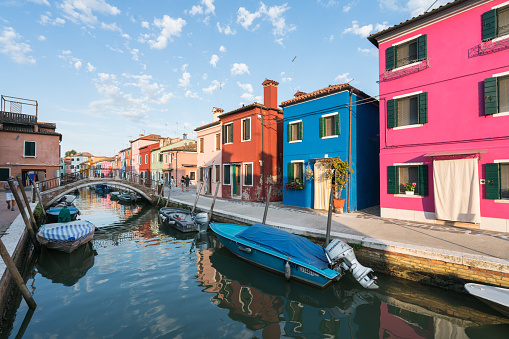 Panoramic view of colorful buildings and boats in front of a canal in Burano
