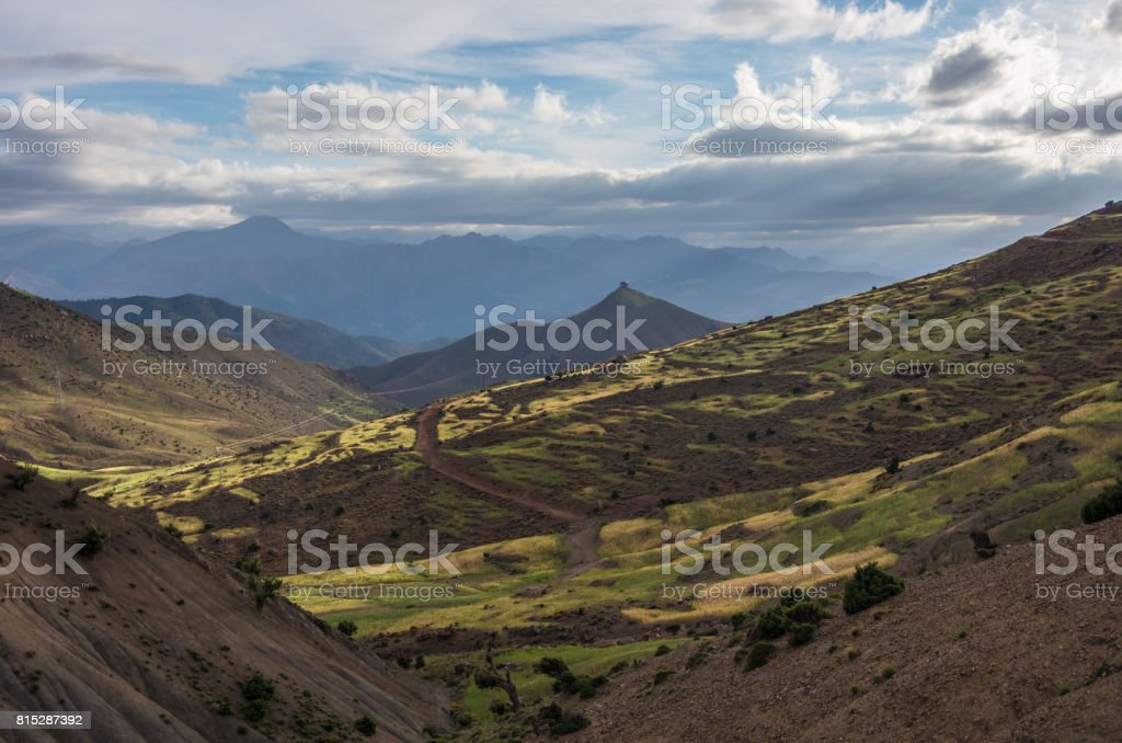 Panoramic view of colorful valley in Morocco The High Atlas mountain range, Africa stock photo